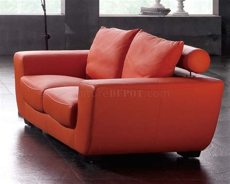 orange loveseat orange top grain leather modern sofa w optional chair