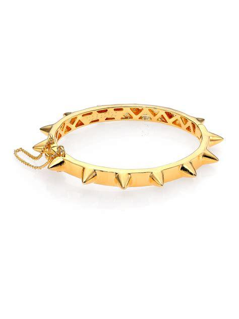 eddie borgo cone hinged bangle bracelet in yellow lyst