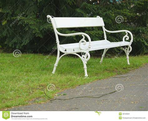 white iron bench ornamented white iron park bench stock photo image 40723031