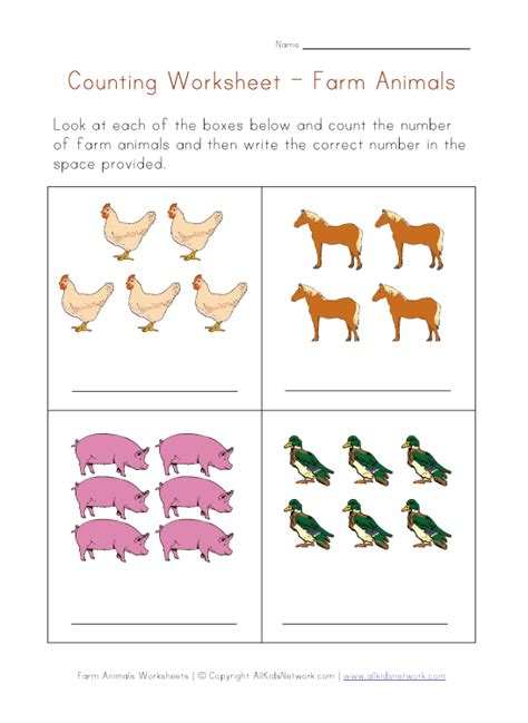 Animal Farm Worksheets by Math Worksheet Counting Farm Animals