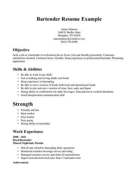 bartender resume skills template resume builder