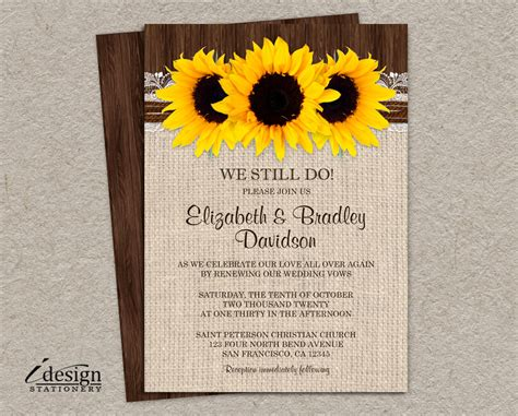 Diy Rustic Sunflower Vow Renewal Invitation Printable Country Vow Renewal Invitations Templates