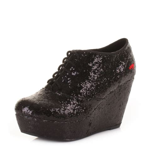 womens rocket sparkle black lift wedge platform