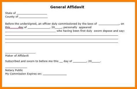 General Affidavit Template 3 affidavit blank form resume pictures