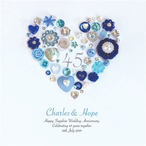 Blue Safir Sapphire 3 35 personalised sapphire anniversary framed by sweet