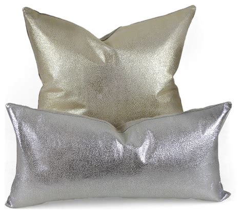 Silver Decorative Pillows by Metallic Leather Pillow Silver 9 X 18