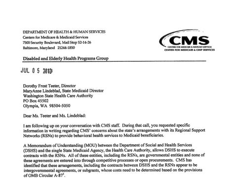 Demand Letter Medicare Wa Cms Calls Mental Health System Invalid State Of Reform State Of Reform