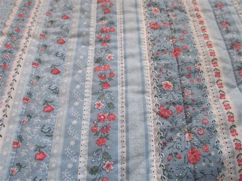 prequilted cotton fabric reversible stripe floral blue