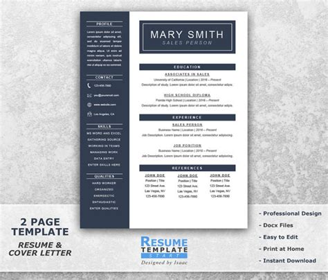 Best Resume Templates Etsy by One Page Resume Template Word Resume Cover Letter Templates