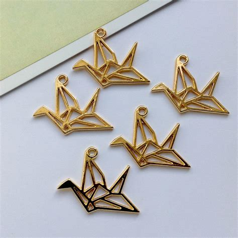Origami Charms - 5 gold tone metal origami crane charms