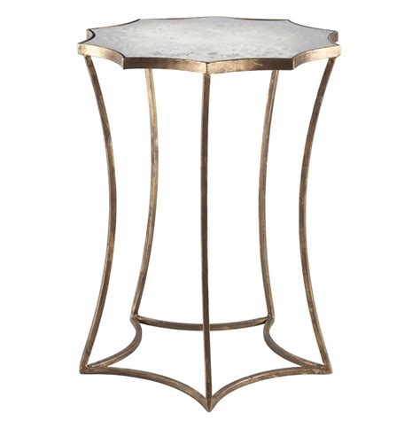 Mirrored Side Table Astre Antique Gold Leaf Shaped Mirrored Side End Table Kathy Kuo Home