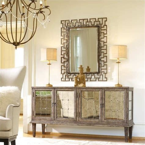 How To Decorate A Buffet Table In Dining Room by Hooker Furniture Melange Devera Mirrored Console Table