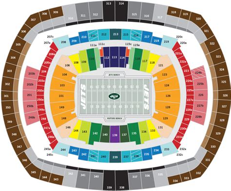 metlife stadium floor plan new jets stadium seating chart