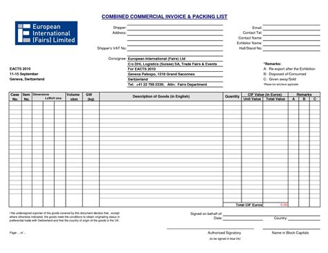 commercial invoice packing list template dhl commercial invoice template uk rabitah net