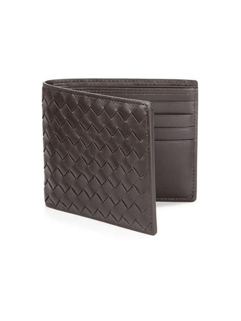bottega veneta woven id wallet in brown for lyst
