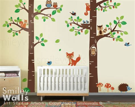 Forest Nursery Wall Decals Wall Decal Forest Animals Wall Decal Tree Tops By Smileywalls