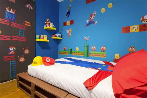 video game themed bedroom gaming themed rental rooms video game themed room