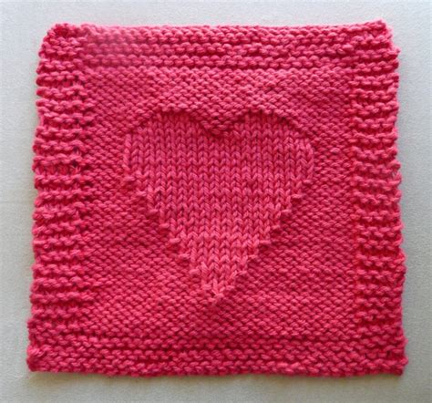 knitting pattern heart motif free free heart themed dishcloth knit pattern patterns
