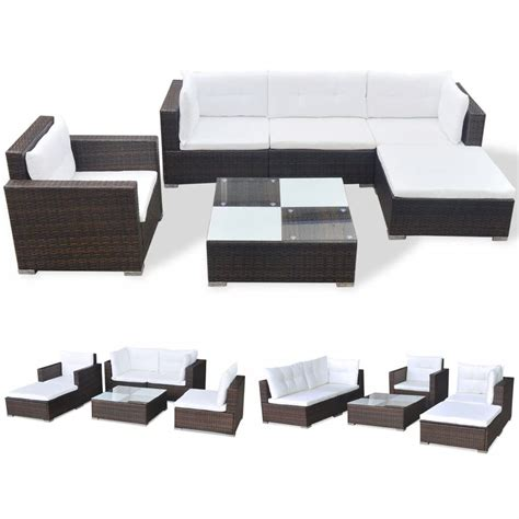 brown rattan sofa set vidaxl 17 garden sofa set brown poly rattan vidaxl