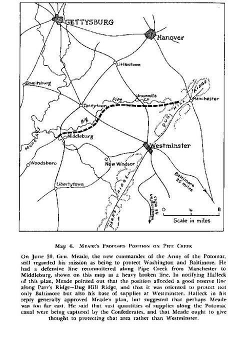 pipe creek map george meade page on gdg