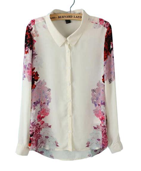 S4 Satin Motif 2 white lapel sleeve floral chiffon blouse shein sheinside