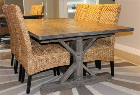 white weathered gray fancy x farmhouse table with