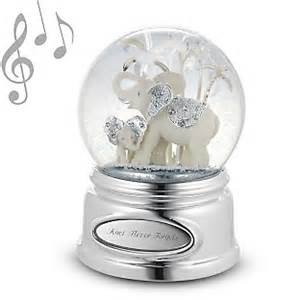 personalized elephant and calf musical snow globe add
