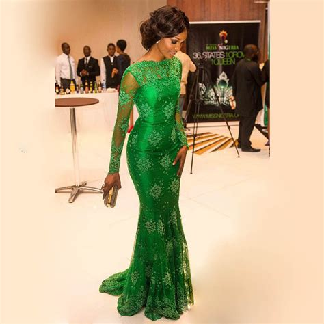 nigerian celebrity style trending french lace dress styles at nigerian parties