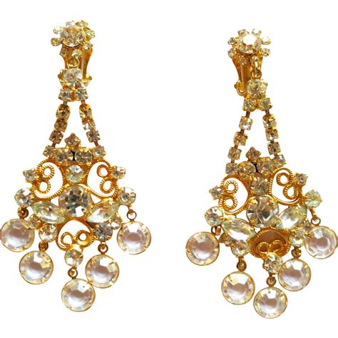 rhinestone chandelier earrings d e juliana clear rhinestone and dangles