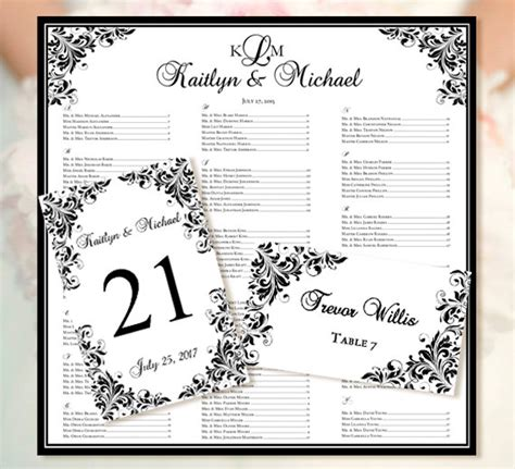 Table Seating Cards Template by Wedding Seating Chart Quot Kaitlyn Quot Black Templates Set