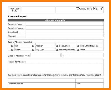 sick form template 6 sick leave form template hostess resume