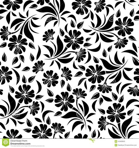 vector background pattern black and white seamless pattern with black flowers on a white background