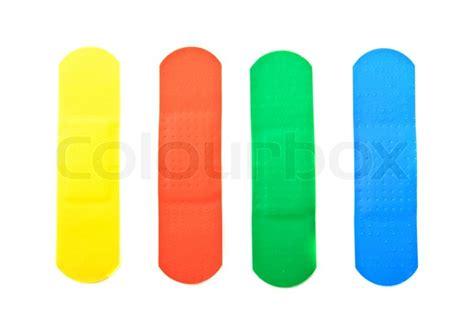 verbrannt orange farbe farben vier medizinischen pflastern in verschiedenen farben gelb