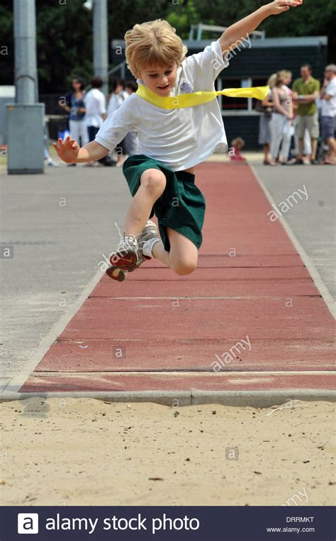 Tries Out by A Child Tries Out Jump Stock Photo Royalty Free