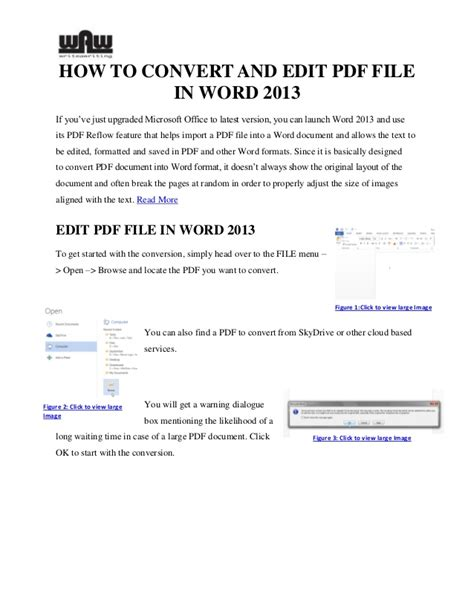 convert pdf to word editable file how to convert and edit a pdf file in word 2013