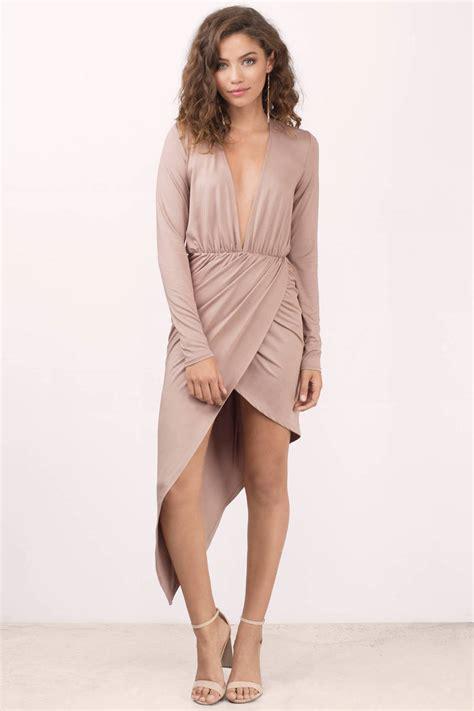 Wrap Dress - gorgeous taupe wrap dress asymmetric dress wrap dress