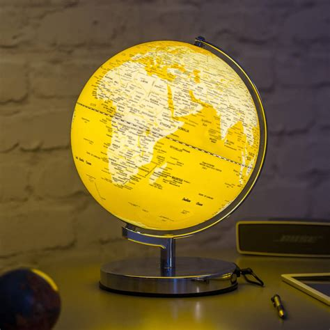 illuminated led globe light in mustard by