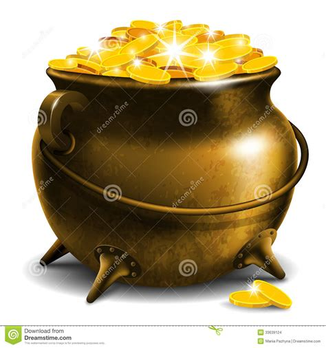Stock Pot Golden pot with gold coin stock images image 33639124