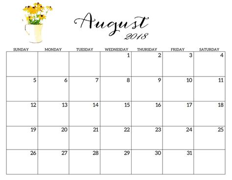 August 2018 Calendar Printable Printable 2018 Monthly Blank Templates Calendar 2018