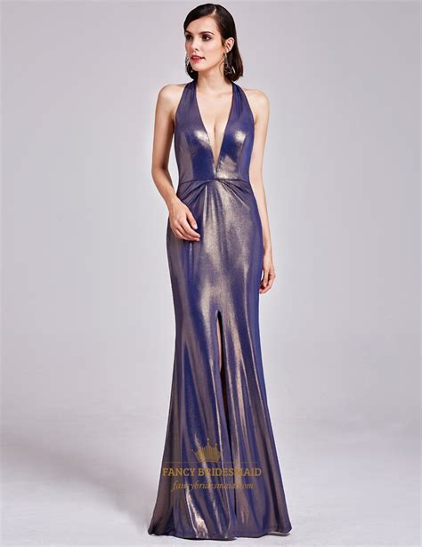 floor length deep  neck halter evening dress  slits