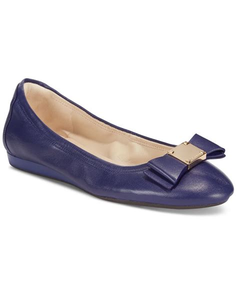 cole haan flat shoes cole haan tali bow ballet flats in blue lyst