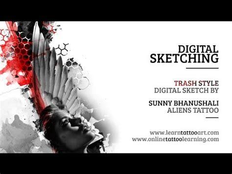 sketchbook trash style digital sketch trash polka style digital drawing using