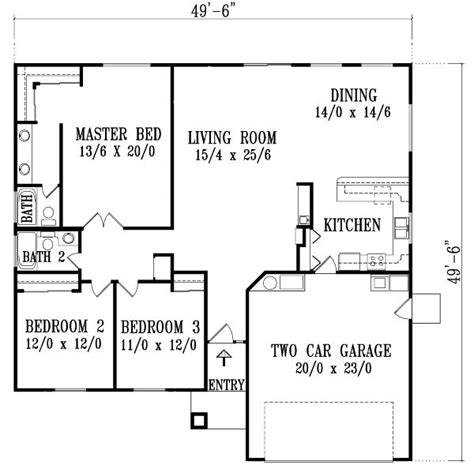 floor plan for 3 bedroom 2 bath house house plans 3 bedroom 2 bath