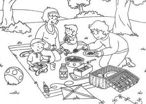 caillou family open their picnic food coloring page