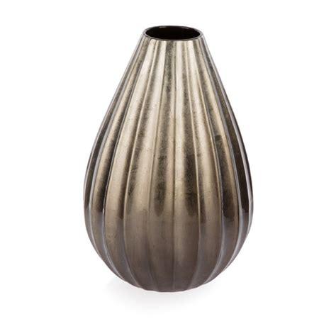 taupe ceramic fluted pear shape vase temple webster