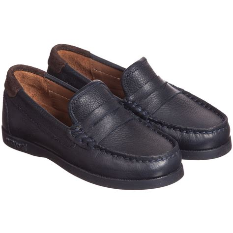 boys loafers mayoral boys navy blue leather slip on loafers