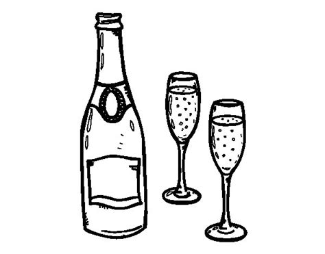 bicchieri da colorare disegno di chagne e bicchieri da colorare acolore