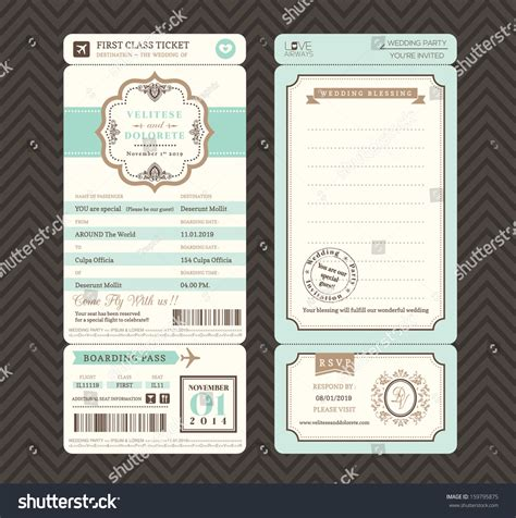 vintage style boarding pass ticket wedding stock vector