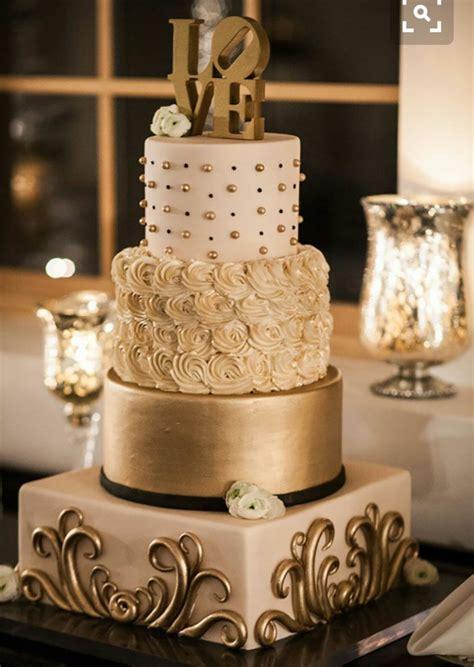 Golden Wedding Cakes by Pastel Dorado Boda Bodas Y Pastelitos