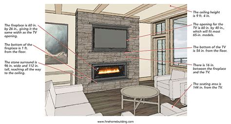 height to place tv on wall arranging a fireplace and a television fine homebuilding